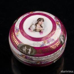 Фарфоровая шкатулка Портрет дамы, Ilmenau, Германия, пер. пол. 20 в