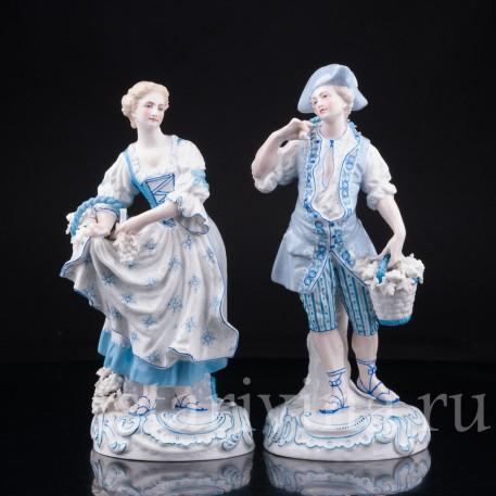 Статуэтка из фарфора Пара в голубом, Франция, 19 в.