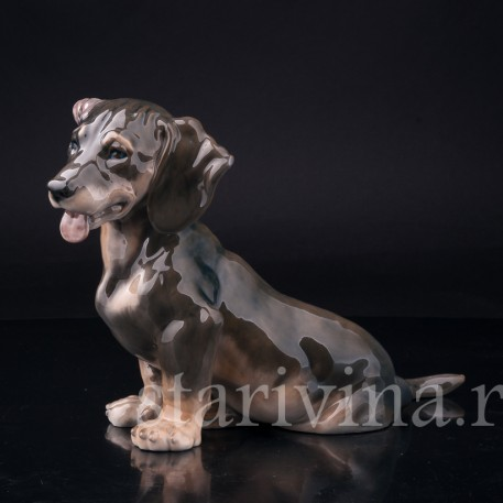 Фарфоровая статуэтка собаки Такса с завернутым ухом, Royal Copenhagen, Дания, 1963 г.