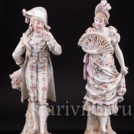 Две фарфоровые статуэтки  Галантная пара, Германия,, 19 в.
