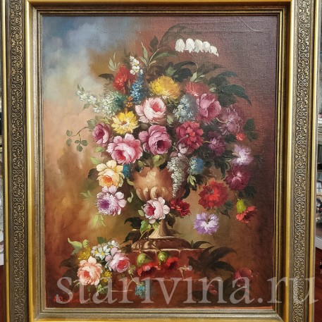 Картина маслом Натюрморт букет с розами, Германия, сер. 20 в.