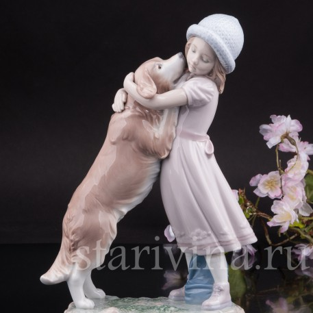 Фарфоровая статуэтка Девочка с собакой, Lladro, Испания, 2001 г.